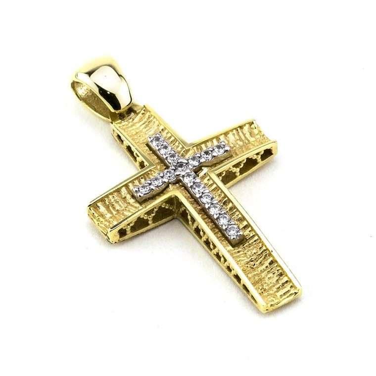 Χρυσός σταυρός βάπτισης 14 καρατίων για Κορίτσι διπλής όψεως με πέτρες ζιργκόν Νο.027