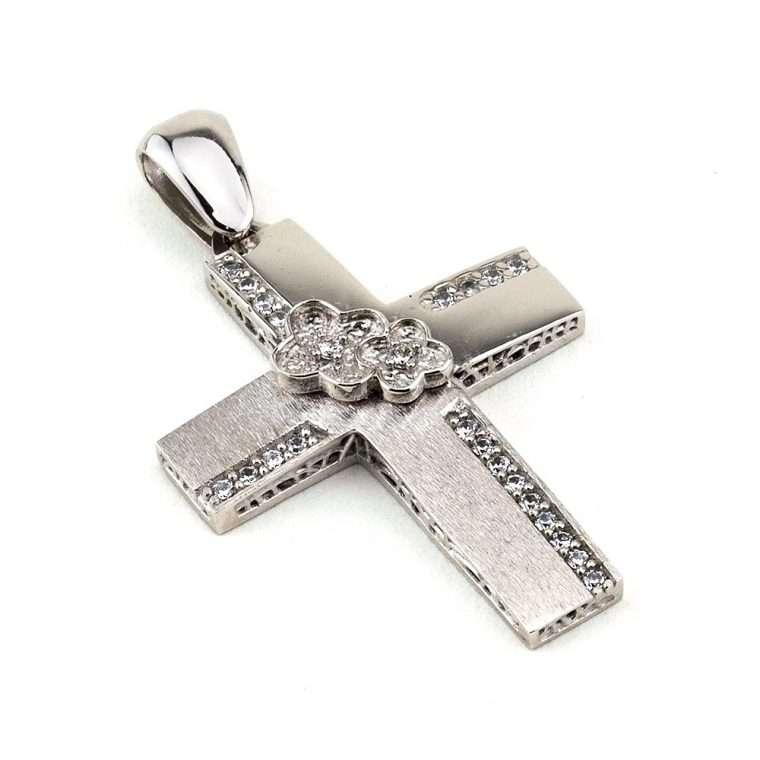 Λευκόχρυσος σταυρός βάπτισης για κορίτσι διπλής όψης 14 καράτια. Νο.037