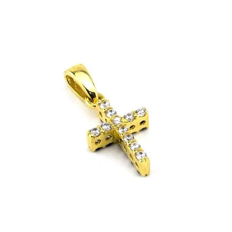 Σταυρουδάκι μικρό διπλής όψεως σε χρυσό 14 καρατίων με πέτρες ζιργκόν No.045