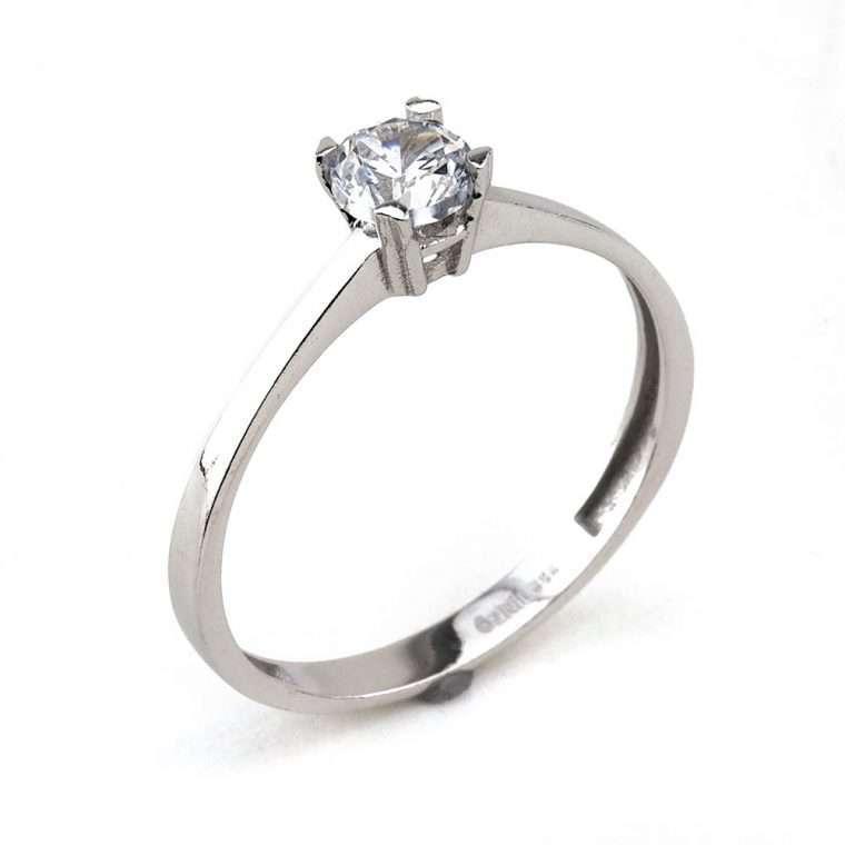 Μονόπετρο δαχτυλίδι , από λευκόχρυσο. Κ14