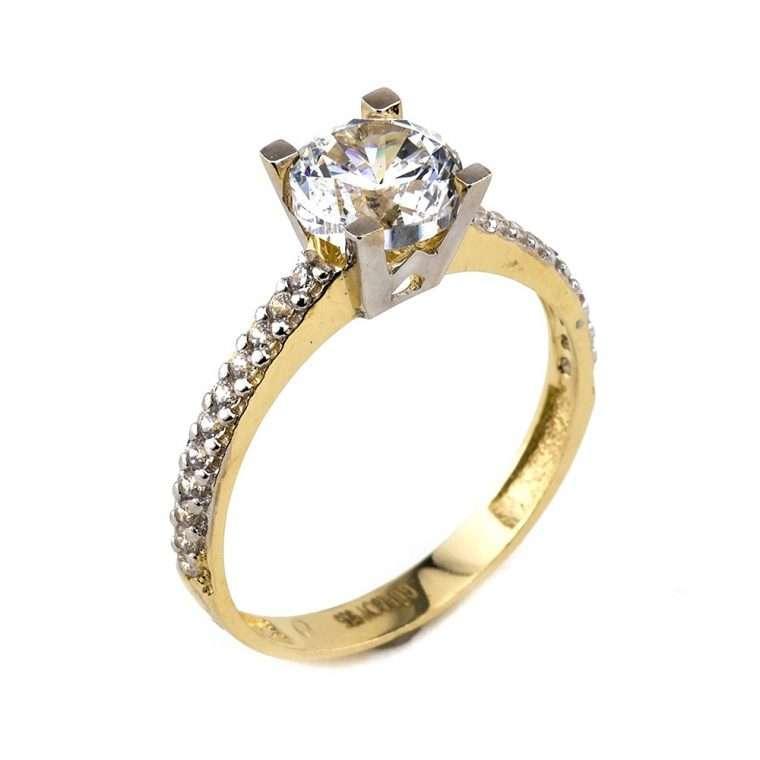 Mονόπετρο δαχτυλίδι λευκόχρυσο με χρυσό και πέτρες ζιργκόν.Κ14