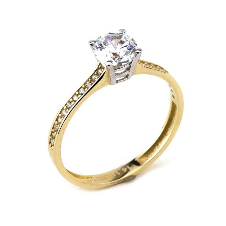 Moνόπετρο δαχτυλίδι από χρυσό 14Κ με πέτρες ζιργκόν.