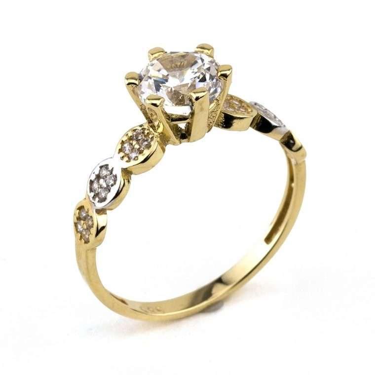 Moνόπετρο δαχτυλίδι,από χρυσό 14Κ με πέτρες ζιργκόν