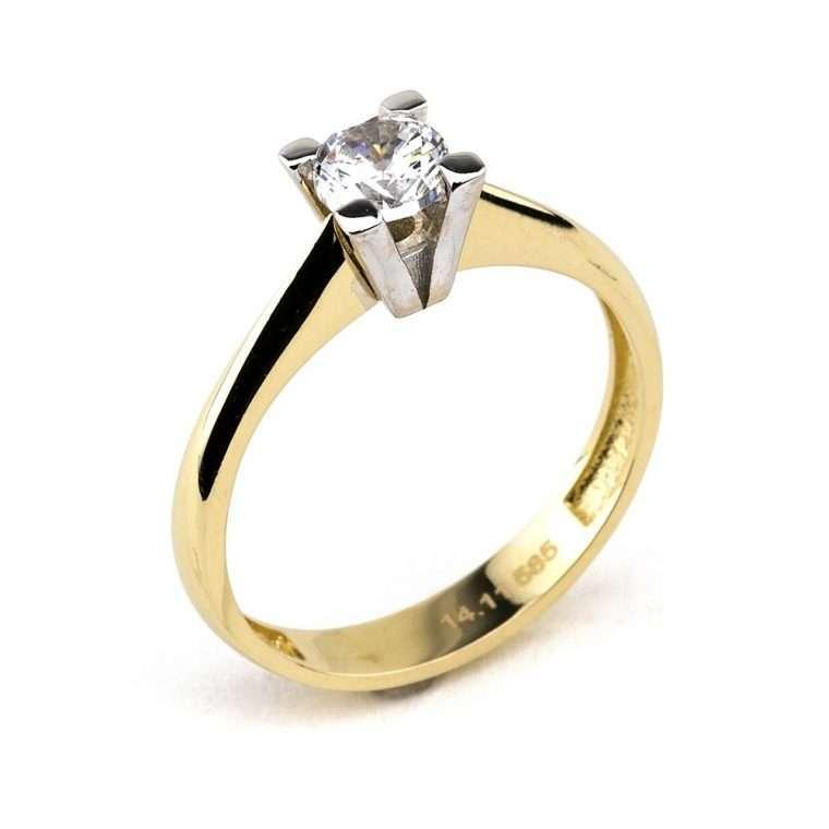 Moνόπετρο δαχτυλίδι ,από χρυσό  14Κ, με πέτρα ζιργκόν.