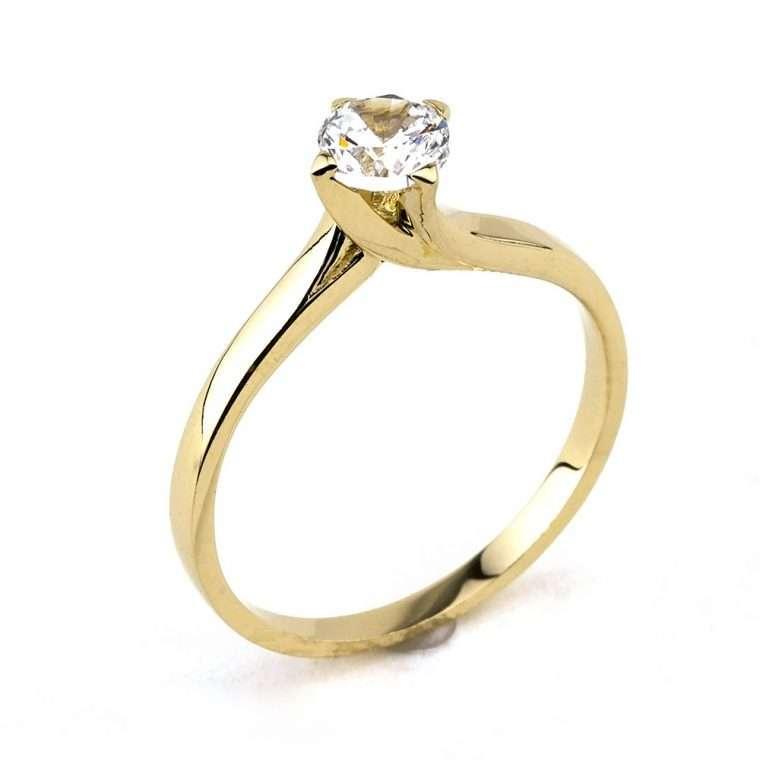 Moνόπετρο δαχτυλίδι από χρυσό 14Κ με πέτρα ζιργκόν.