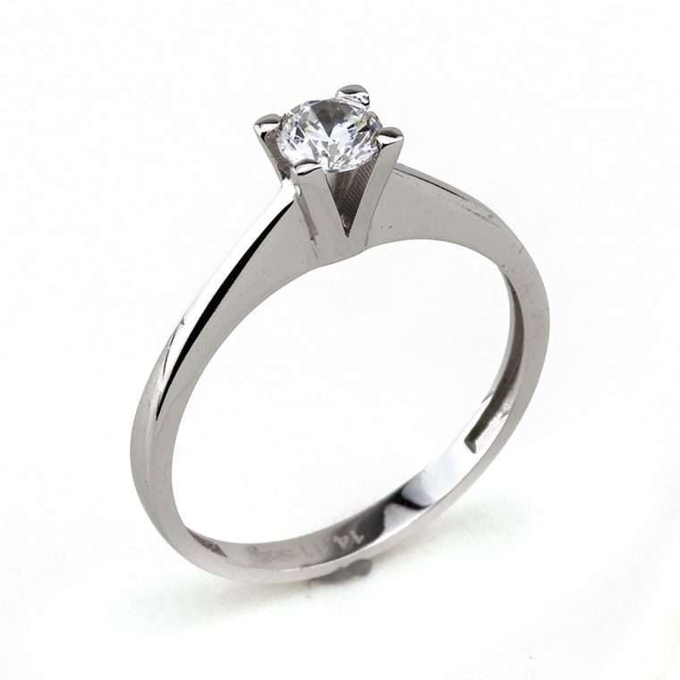 Moνόπετρο δαχτυλίδι από λευκόχρυσο 14Κ με πέτρα ζιργκόν.