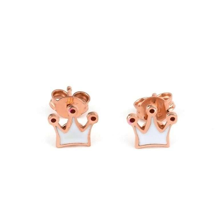 Ασημένια σκουλαρίκια κορώνα για το αυτί