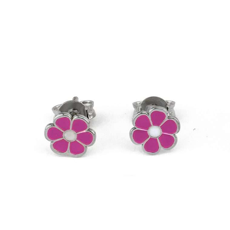 Ασημένια σκουλαρίκια ροζ μαργαρίτα για το αφτί
