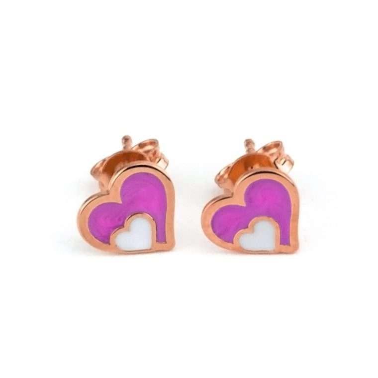 Ασημένια σκουλαρίκια διπλή καρδιά για το αυτί