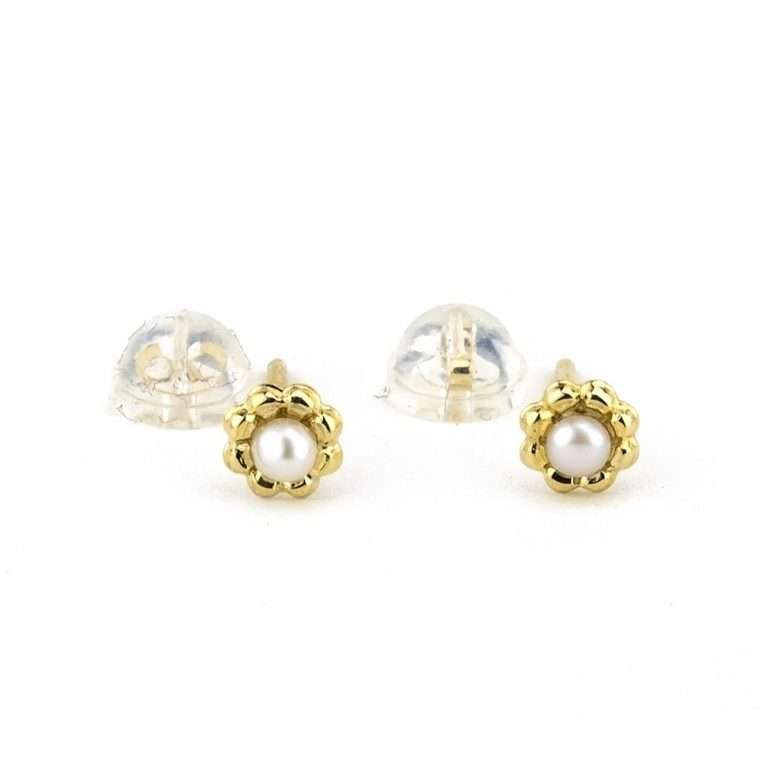 Χρυσά σκουλαρίκια, με μαργαριτάρι 9Κ για το αφτί.
