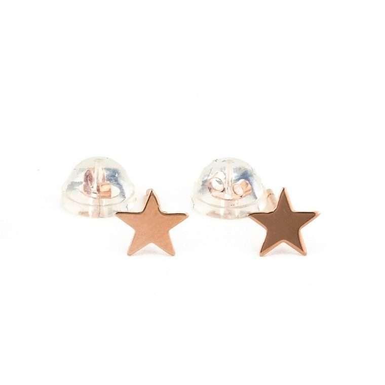 Χρυσά Σκουλαρίκια Αστέρια 9Κ Ροζ Για Το Αφτί