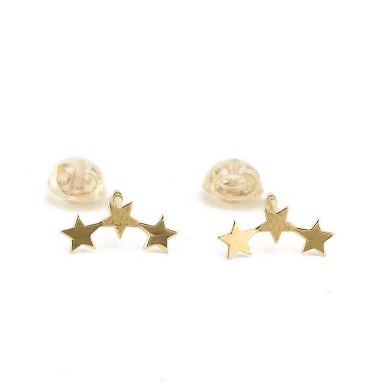 """Χρυσά σκουλαρίκια """"αστεράκια"""" 9Κ για το αφτί"""