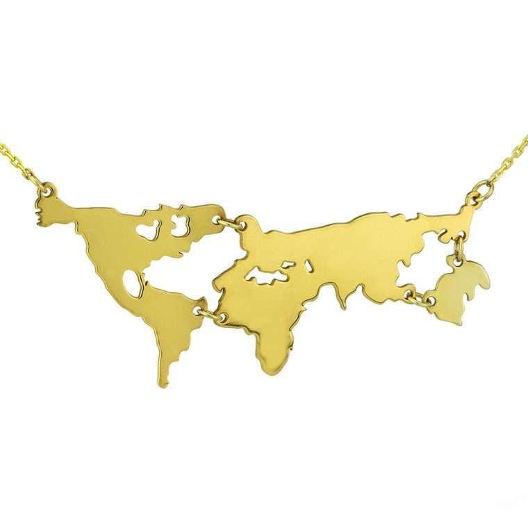 Γυναικείο ασημένιο κολιέ παγκόσμιος χάρτης