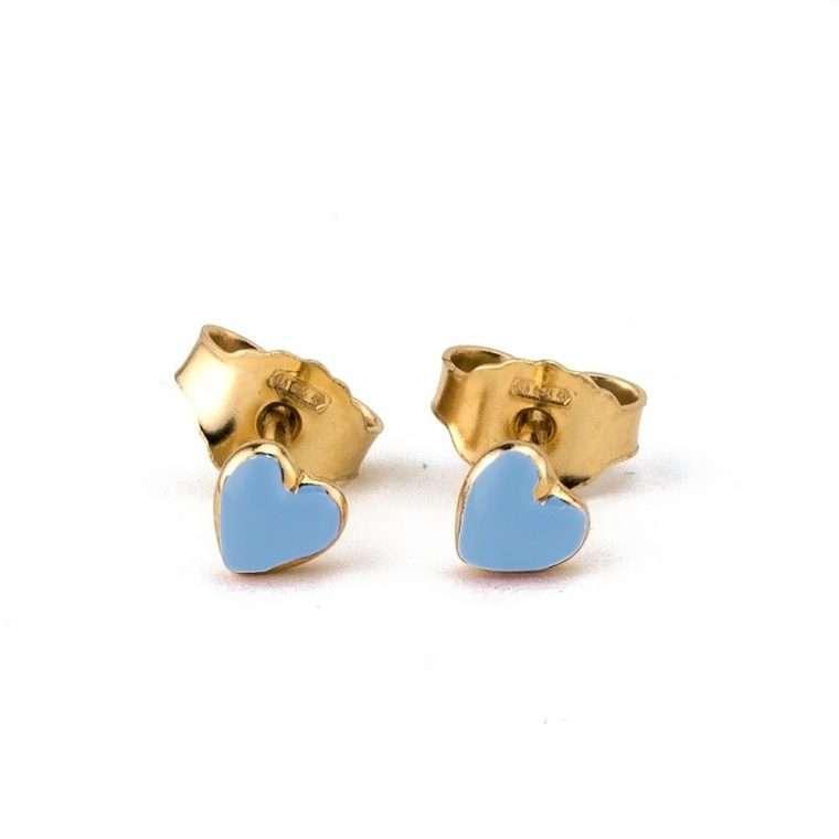 Ασημένια σκουλαρίκια,γαλάζια καρδούλα για το αυτί