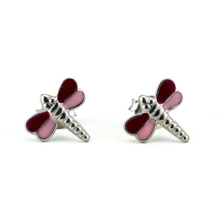 Ασημένια σκουλαρίκια, ροζ λιβελούλα για το αφτί