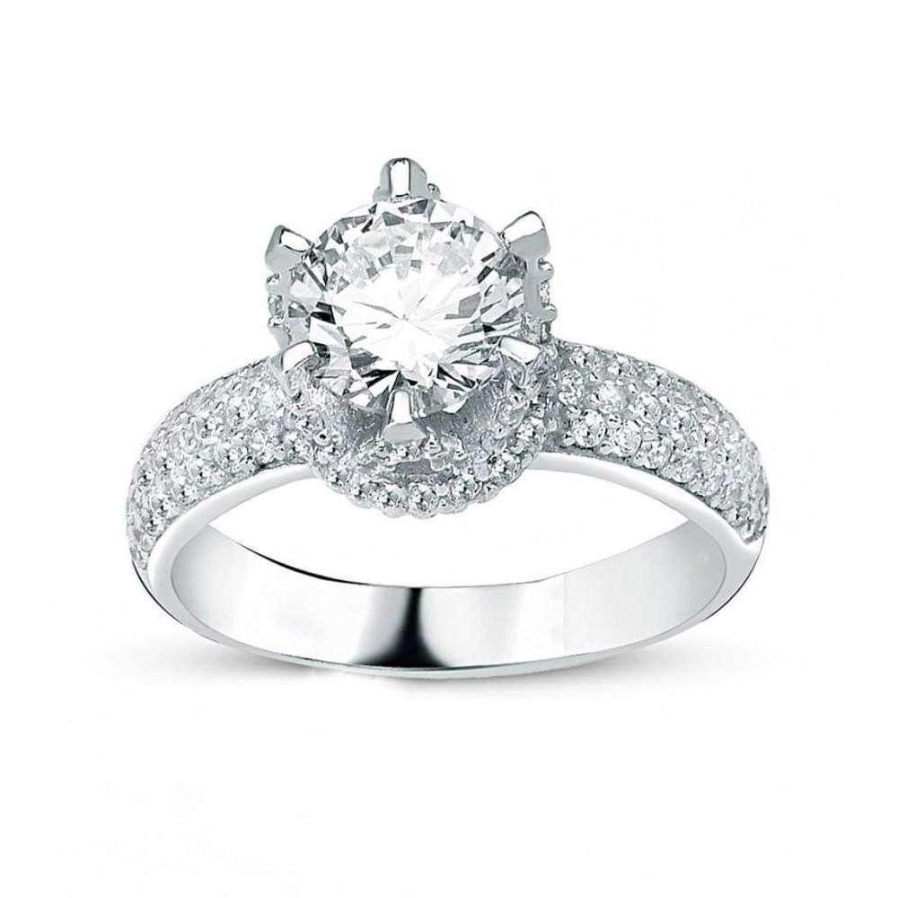 Γυναικείο Μονόπετρο δαχτυλίδι,κορώνα από ασήμι με πέτρες ζιργκόν