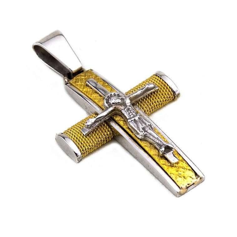 Σταυρός Λευκόχρυσος 14 καρατίων για Αγόρι με συρματερό χρυσό σταυρό και τον εσταυρωμένο Νο.555