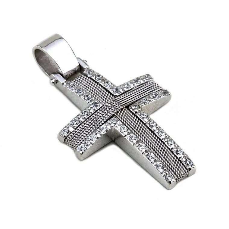 Σταυρός Λευκόχρυσος συρματέρος, για Κορίτσι 14 καρατίων.No.573