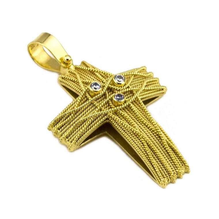 Σταυρός Χρυσός, συρματερός για Κορίτσι  με πέτρες ζιργκόν. Νο.587
