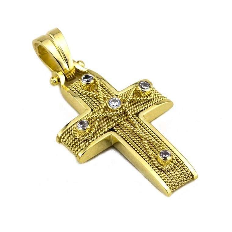 Σταυρός Χρυσός, συρματερός για Κορίτσι με πέτρες ζιργκόν.Νο.588