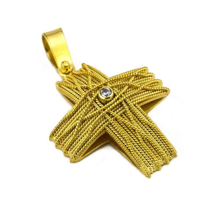 Σταυρός Χρυσός, συρματερός για Κορίτσι με πέτρα ζιργκόν.Νο.589