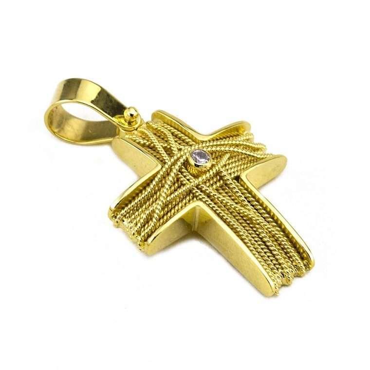 Σταυρός Χρυσός, συρματερός για Κορίτσι με πέτρα ζιργκόν.Νο.590