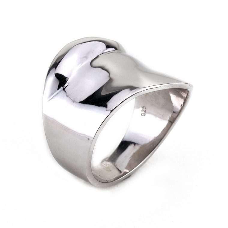 Γυναικείο Ασημένιο δαχτυλίδι σωλήνας κυματιστός