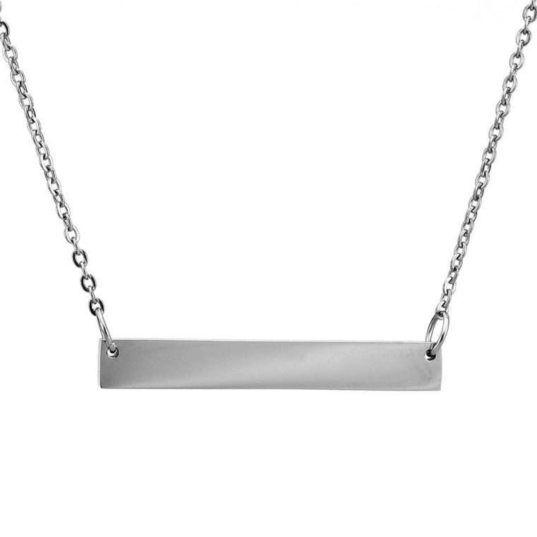 Γυναικείο κολιέ μπάρα stainless steel ασημί