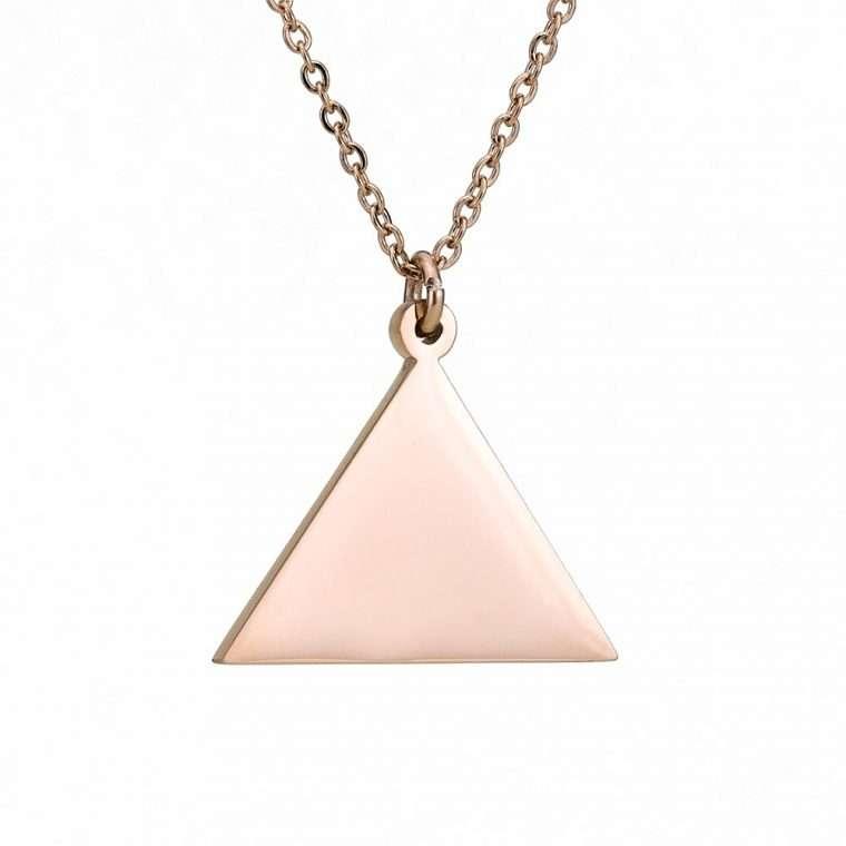 Γυναικείο κολιέ τρίγωνο stainless steel ρόζ.