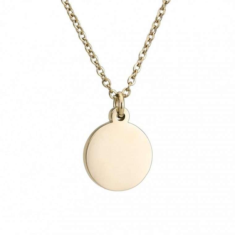 Γυναικείο κολιέ κύκλος stainless steel χρυσό.