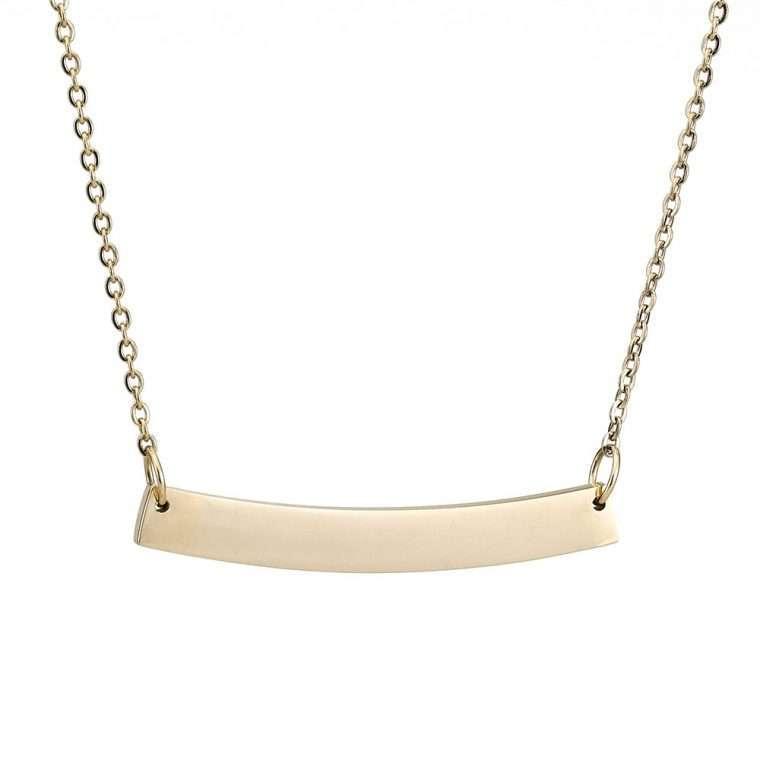Γυναικείο κολιέ κυρτή μπάρα stainless steel χρυσό