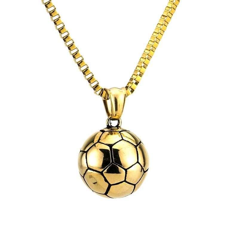 Ανδρικό Κολιέ μπάλα stainless steel χρυσο.