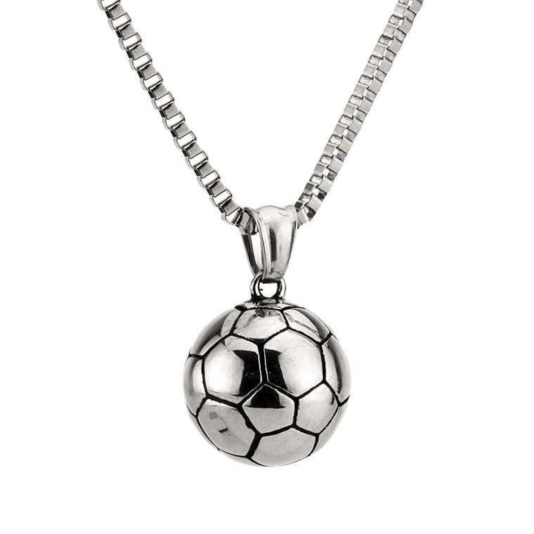Ανδρικό Κολιέ μπάλα stainless steel ασήμι.