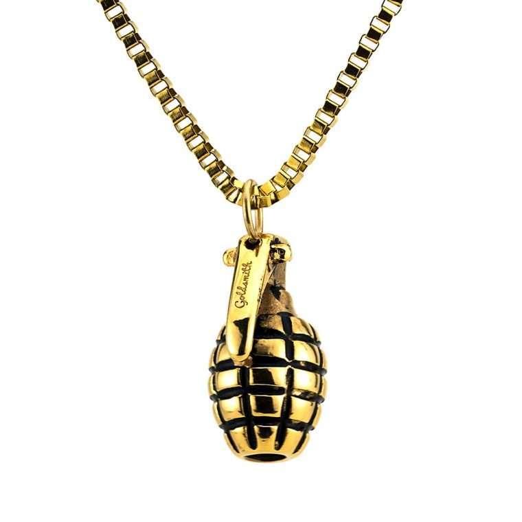 Ανδρικό Κολιέ χειροβομβίδα stainless steel χρυσό