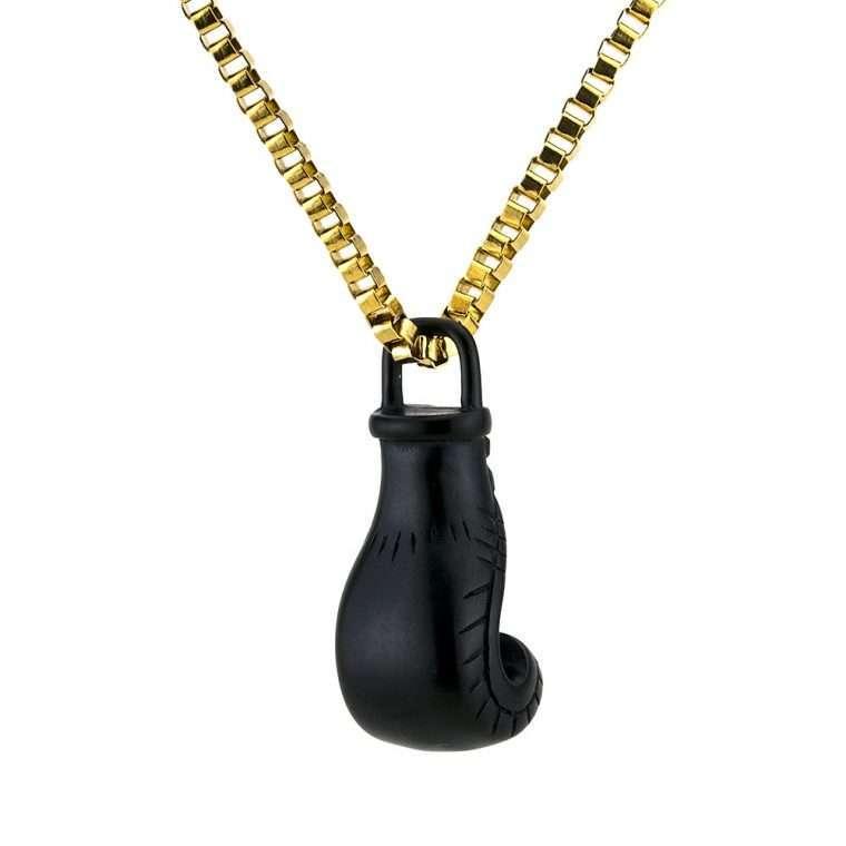 Ανδρικό Κολιέ γάντι του μποξ stainless steel μαύρο