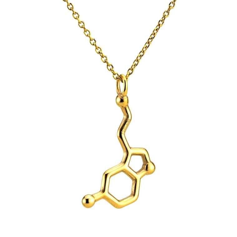 Ανδρικό Κολιέ  σερoτονίνη stainless steel χρυσό Νο.1