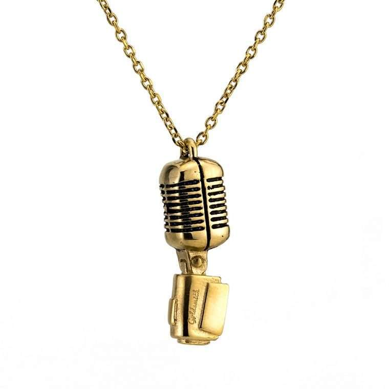 Ανδρικό Κολιέ μικρόφωνο stainless steel χρυσό