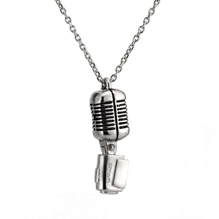 Ανδρικό Κολιέ μικρόφωνο stainless steel ασημί
