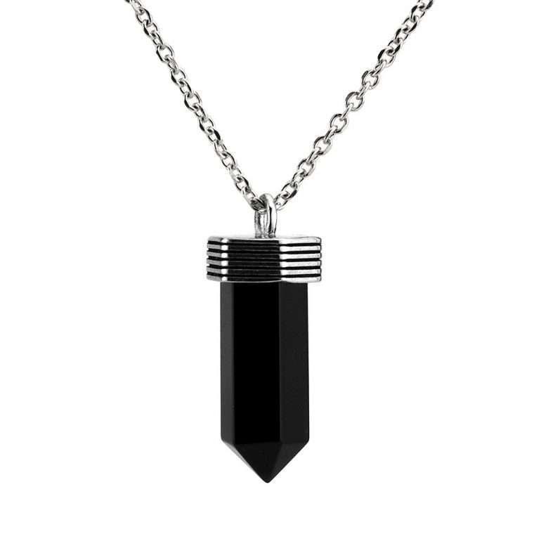 Ανδρικό Κολιέ crystal stainless steel μαύρο ασημί