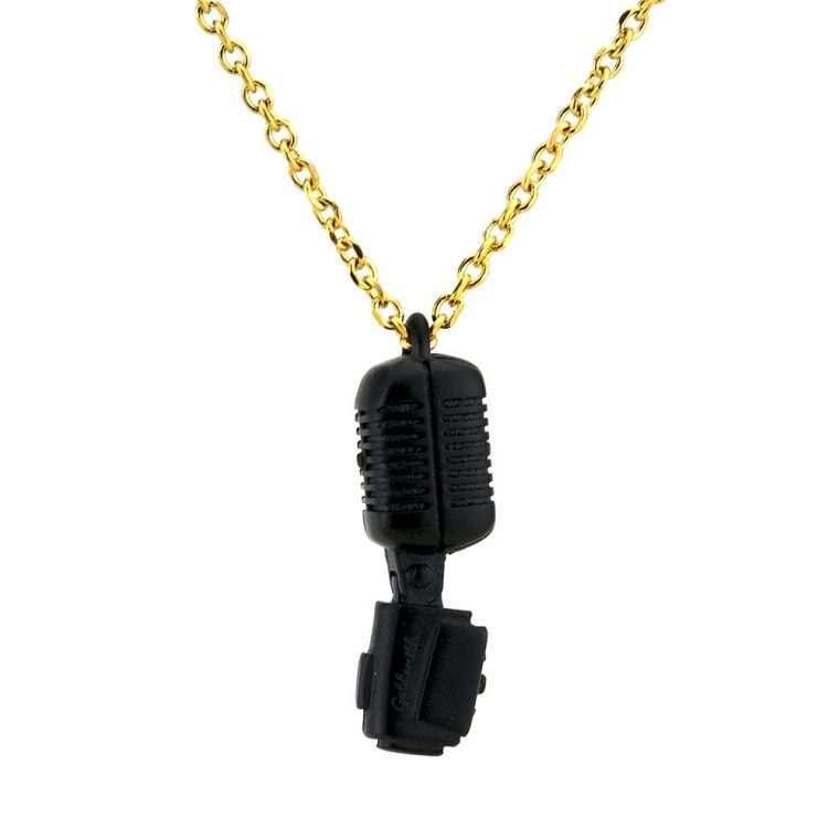 Ανδρικό Κολιέ μικρόφωνο stainless steel  μαύρο  Νο.5