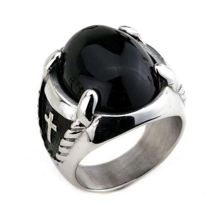 Ανδρικό Δαχτυλίδι Goldsmith signet stainless steel round matte ασημί. RG33