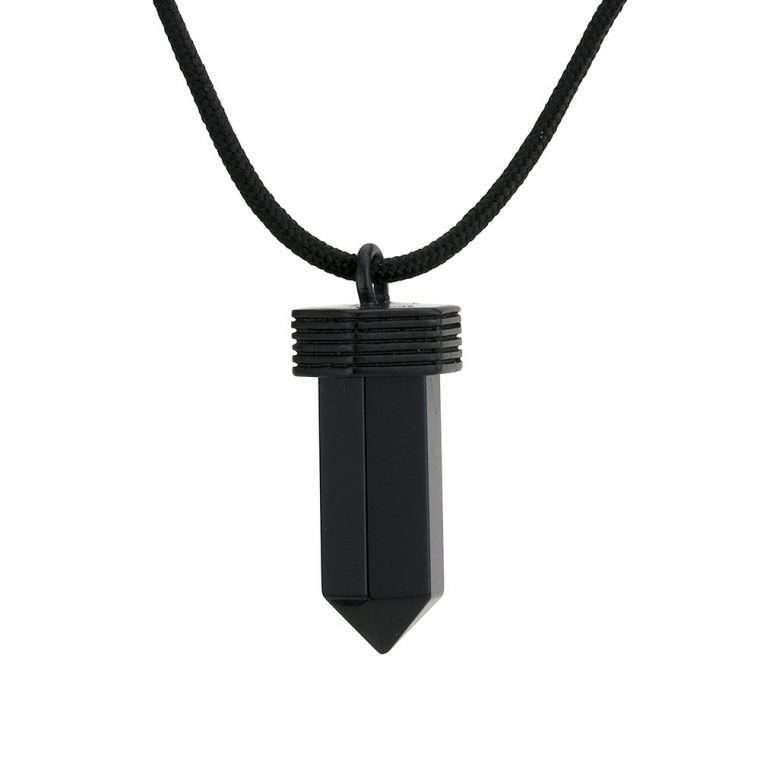 Ανδρικό Κολιέ crystal stainless steel μαύρο