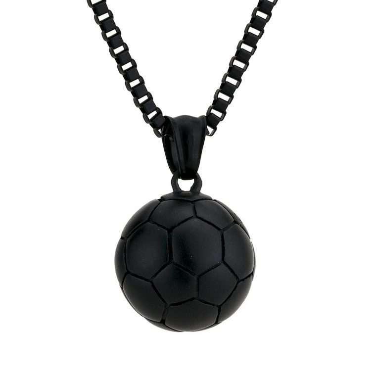 Ανδρικό Κολιέ μπάλα stainless steel μαύρο