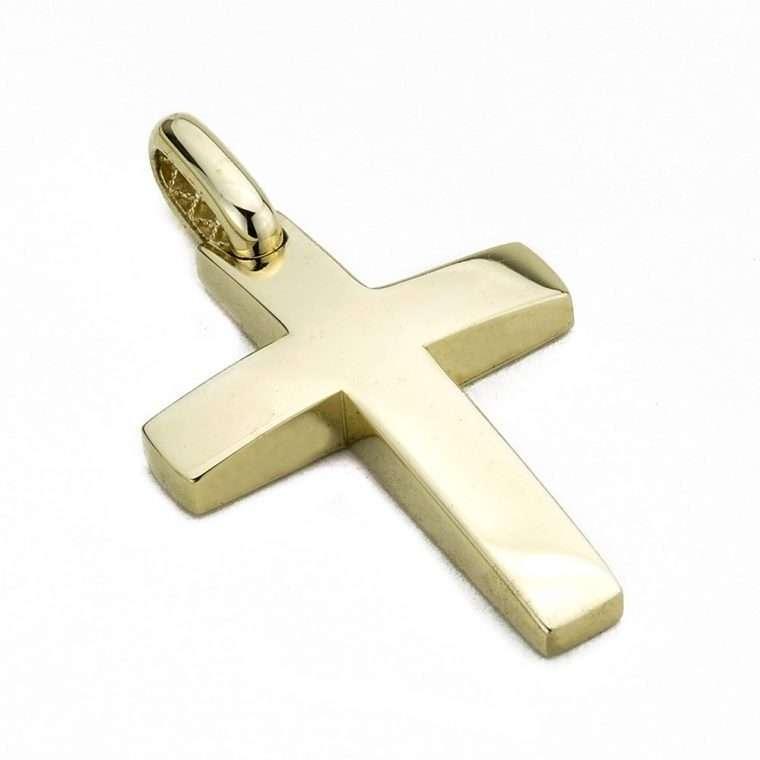 Χρυσός σταυρός βάπτισης 14 καρατίων για αγόρι Νο. 977