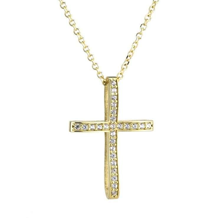 Χρυσός σταυρός βάπτισης 14 καρατίων για κορίτσι.