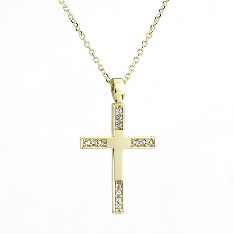 Χρυσός σταυρός βάπτισης 14 καρατίων για κορίτσι. Νο. 116
