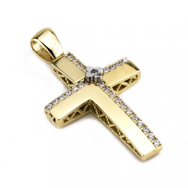Χρυσός σταυρός βάπτισης για κορίτσι διπλής όψης 14 καρατίων.  Nο 019