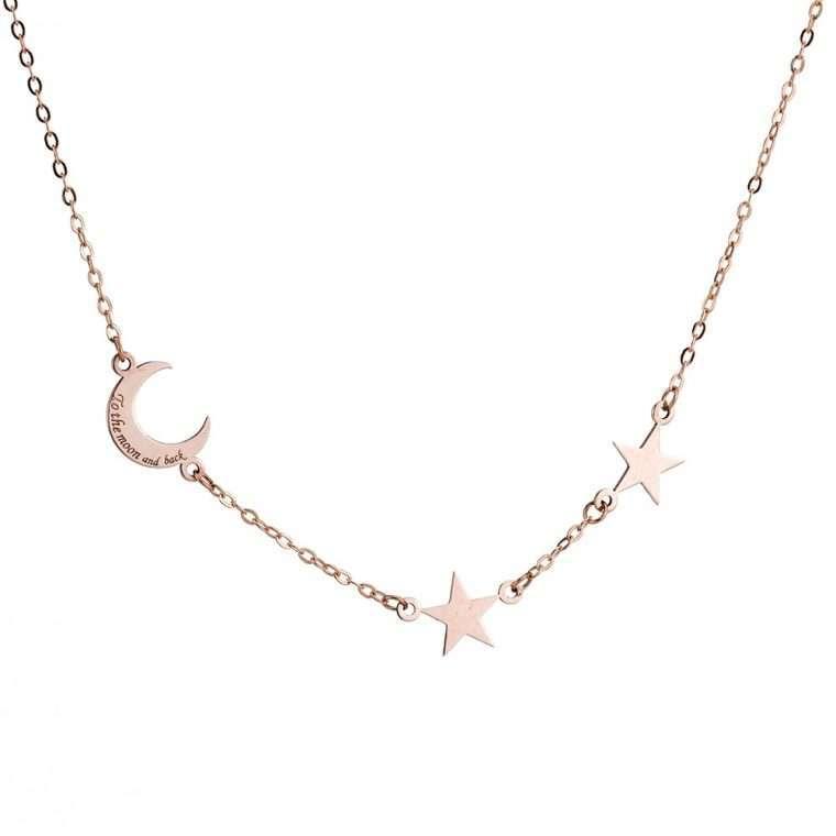 Γυναικείο ασημένιο κολιέ με μοτίφ φεγγάρι με αστεράκια.