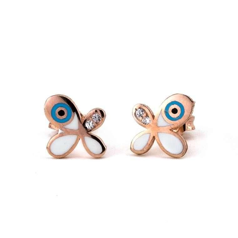 Ασημένια σκουλαρίκια πεταλούδα με πέτρα ζιργκόν και ματάκι για το αφτί