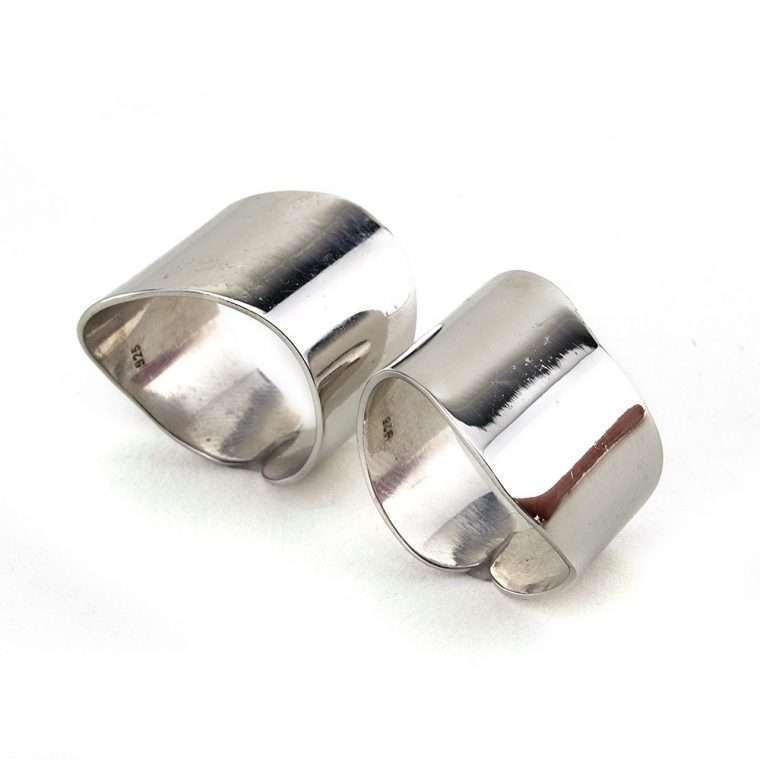 Γυναικείο Ασημένιο ζευγάρι δαχτυλίδια σωλήνας κυματιστός Νο.1